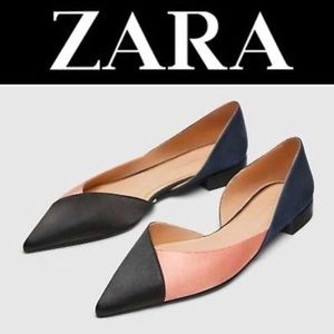 Pink, navy and black d'orsay flats